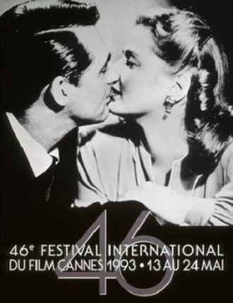 1993 Cannes Film Festival - Official poster of the 46th Cannes Film Festival, featuring still of Cary Grant and Ingrid Bergman from Alfred Hitchcock's Notorious.