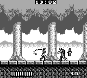 Castlevania: The Adventure - A screenshot of the game's first level.