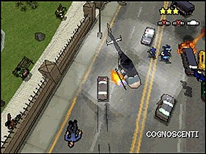 Grand Theft Auto: Chinatown Wars - A Cognoscenti being stolen, while the player holds a 3-star wanted level. While in other Grand Theft Auto titles, the main technique to evade from the police was to leave a certain vicinity, away from them entirely, Chinatown Wars introduces a new mechanic which requires the player to destroy a specific number of police vehicles, thereby lowering the wanted level.