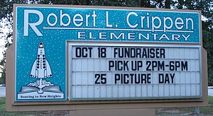 Robert Crippen - Sign of Crippen Elementary School in Porter, Texas, named after Robert Crippen