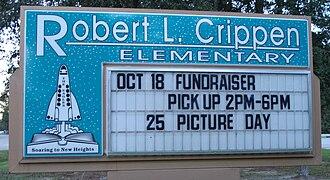 Robert Crippen - Sign of Crippen Elementary School in Porter, Texas, named after Robert Crippen