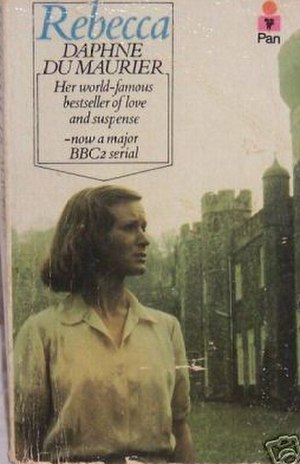 Rebecca (novel) - Pan UK paperback edition cover (showing Joanna David as Mrs. de Winter from the BBC television production. Jeremy Brett played the role of Maxim de Winter.)