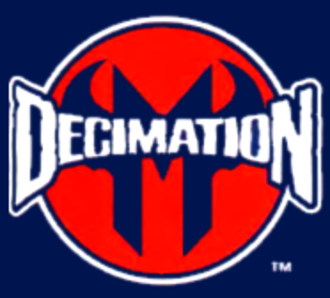 Decimation (comics) - Decimation event logo, as shown on the covers of tie-in comics
