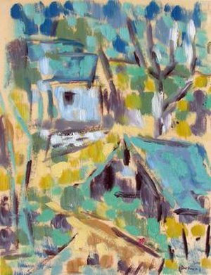 """Werner Drewes - Werner Drewes, """"Study: Blue House in the Woods 2,"""" 1950, 10 x 7¾ inches (25.4 x 19.7cm), oil on parchment, Tobey C. Moss Gallery"""
