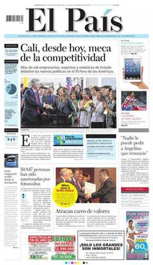 El País (Cali) - Image: El País cover 24 Octuber 2012