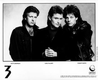 3 (1980s band) - 3 in 1988, from left to right, Keith Emerson, Carl Palmer and Robert Berry