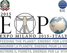 Logo waaronder Leonardo da Vinci Vitruvian Man tekening