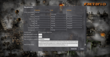 factorio how to change map settings