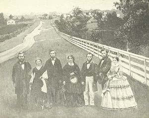 Hiram College - James A. Garfield (left), his wife Lucretia Rudolph Garfield (right) and other faculty, 1858.