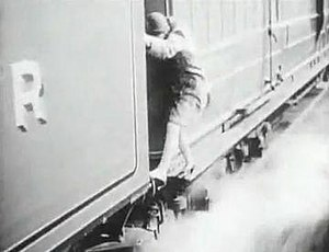 The Flying Scotsman (1929 film) - Pauline Johnson walks along the edge of the locomotive, a genuine stunt in the climax of the film.