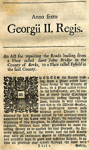 Turnpike trusts - The front page of the Act to create the Fyfield Turnpike Trust on the Great Road to Gloucester in 1738
