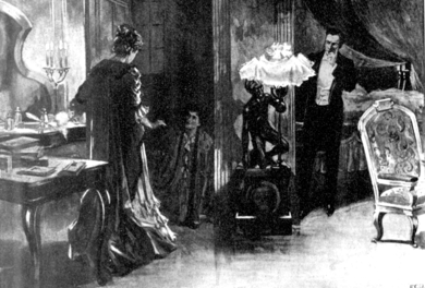 Scene showing a woman standing, another woman kneeling, discovered listening at a keyhole, and a man standing half hidden