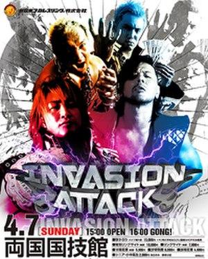 Invasion Attack (2013) - Promotional poster for the event, featuring Togi Makabe, Kazuchika Okada, Hiroshi Tanahashi and Shinsuke Nakamura
