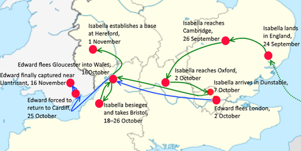 Map of the route for the 1326 invasion of England by Roger Mortimer and Queen Isabella