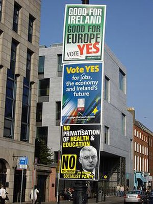 Twenty-eighth Amendment of the Constitution Bill 2008 (Ireland) - Campaign posters in St Stephen's Green, Dublin