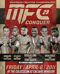 A poster or logo for MFC 29: Conquer.