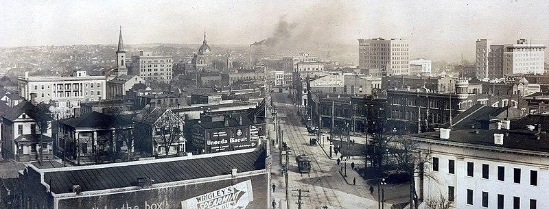 Downtown Macon in the early 1900s,  looking northeast near the intersections of Cotton Avenue, First Street and Poplar Street.