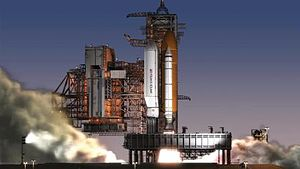Shuttle-Derived Heavy Lift Launch Vehicle - Artist impression of the Shuttle-Derived HLV concept