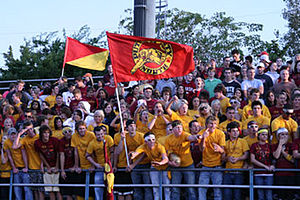 "Putnam City North High School - The senior class of 2008 football student section, known as ""Gold Rush"". (Photo by D. Owens)"