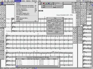 Screenshot of Overture 3.6 on Mac OS 9, showing palettes, step note entry window, and track list window