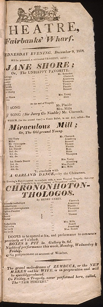 Henry Carey (writer) - An 1818 playbill for Chrononhotonthologos.