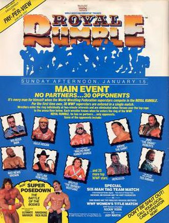 Royal Rumble (1989) - Promotional poster featuring various WWF wrestlers