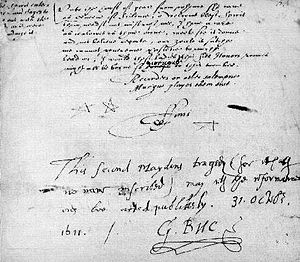 "The Second Maiden's Tragedy - George Buc's license at the end of the manuscript. It reads ""This second Maydens tragedy (for it hath no name inscribed) may with the reformations now be acted publikely."""