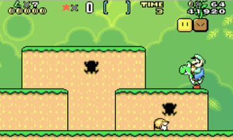 Luigi riding Yoshi during one of the game's early stages in the Game Boy Advance version of Super Mario World. SupermarioworldGBA.png