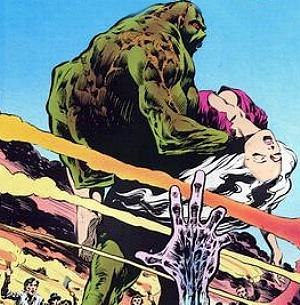 Abby Holland -  Swamp Thing saves Abby's life for the first time. Artwork by Bernie Wrightson
