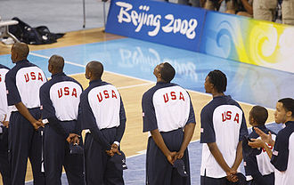 United States men's national basketball team - The USA players standing prior to a game against China in the Beijing Olympics