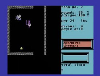 Temple of Apshai - A Mosquito appears!. Typical gameplay of Temple of Apshai. In all versions from Apple II onwards, the abstract symbols of the original were replaced with concrete realizations of the characters (Commodore 64 version pictured).