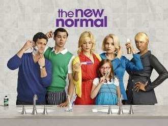 The New Normal (TV series) - Promotional image featuring the cast: (left to right) Justin Bartha, Andrew Rannells, Georgia King, Bebe Wood, Ellen Barkin, and NeNe Leakes.