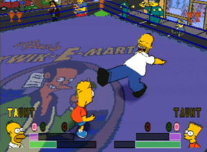 The Simpsons Wrestling - Homer and Bart fight in the wrestling ring. Homer is only three letters away from being able to taunt his opponent.