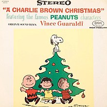 a drawing of some of the peanuts gang running around a christmas tree - Peanuts Christmas