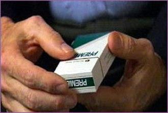 Premier (cigarette) - Image: A person holds a pack of Premier cigarettes