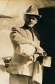 Alpino Celestino Ellero.  WW1. He wears the 1st issue Italian Gas mask container strapped over his right shoulder. ca. 1916