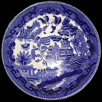 Chinaman (porcelain) - Blue and white porcelain in a Chinese style.  The willow pattern was actually invented in England and this piece was produced in Staffordshire.