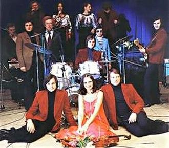 Chervona Ruta (ensemble) - From left to right: Alexander Leonenko, Sofia Rotaru, Anatoliy Evdokimenko