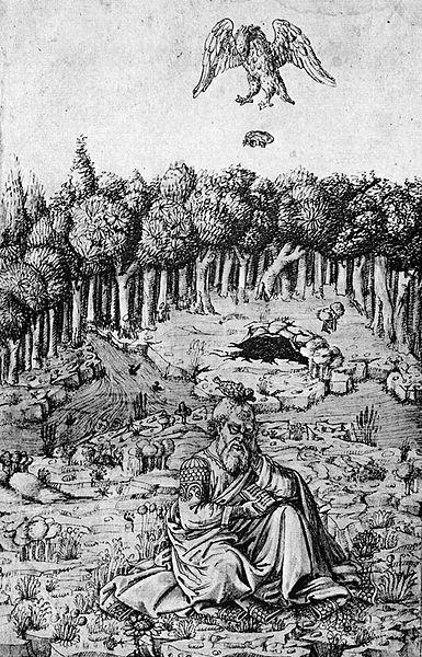 La muerte de Esquilo, ilustrada en la Crónica florentina en imágenes, de Maso Finiguerra, obra del siglo XV.