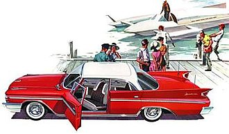 DeSoto Adventurer - Promotional art advertising the 1960 DeSoto Adventurer four-door sedan, featuring Chrysler's patented swiveling front seats