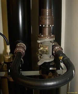 EIA RF Connectors - Image: EIA flange connectors in Band II socket