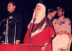 History of Bangladesh after independence - Presidential Oath Ceremony after 1986 election, with the Chief Justice and Military Secretary (1984–1989) Brigadier ABM Elias