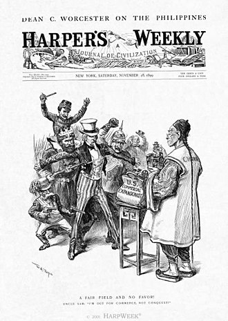 "History of United States foreign policy - Uncle Sam ( United States) rejects force and violence and ask ""fair field and no favor""--that is, equal opportunity for all trading nations to peacefully enter the China market.  This became the Open Door Policy.  Editorial cartoon by William A. Rogers in Harper's Magazine November 18, 1899."