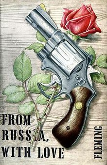 Book cover, with a drawing of a revolver lying on a rose; the stem passes through the trigger guard. In black block letters in the bottom left hand corner is the title, and the authors name appears in black block letters in the bottom right.