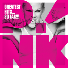 "The cover of the album depicts Pink held by two shackles that lock the wrist while attempting to move, while turning an uncomfortable smile in pictures, like a smile of battle, and behind her there is a gray background, while in front of you is written in pink ""Pink"" (stylized as P!nk) and slightly above is the inscription in black ""Greatest Hits... So Far!!!""."