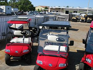 Solar golf cart - Helios Chargers, 130 watts and 205 watts, on solar powered golf carts.