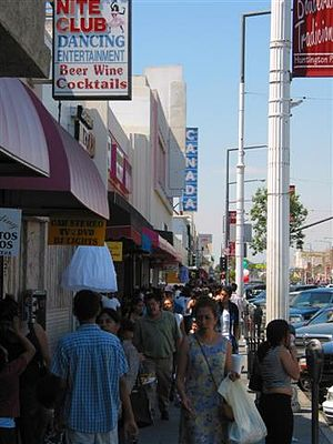 Huntington Park, California - Pedestrians on the Pacific Boulevard shopping district