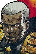Head and shoulders painting of a serious-looking elderly black man, with a scar on his left cheek and mouth, in the uniform of the chief judge