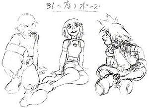 Characters of Kingdom Hearts - Early concept art of Riku, Kairi, and Sora, original characters created for the series