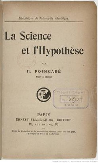 Science and Hypothesis - Title page of first edition